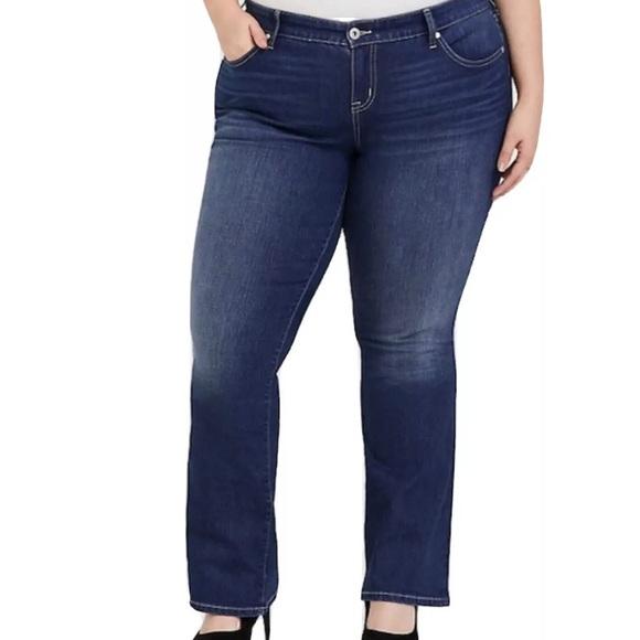 Torrid Denim Jeans Slim Boot Cut Worn Hem Plus 24